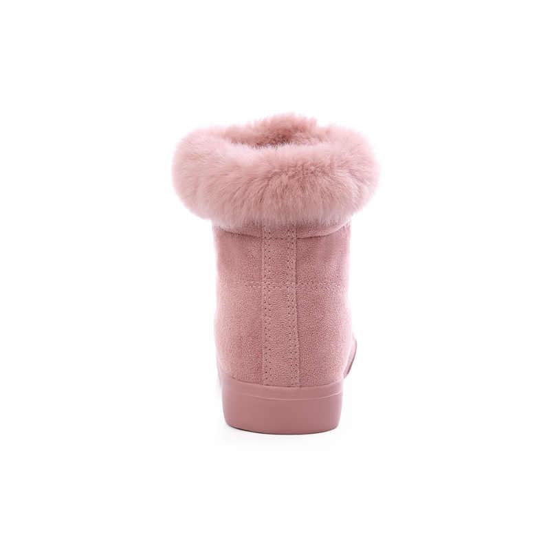 Donne Stivali Da Neve Inverno Caldo Stivaletti di Pelliccia Coppia Spessa Suola Scarpe di Cotone Donna Appartamenti Anti-skid Botas Mujer Zapatos