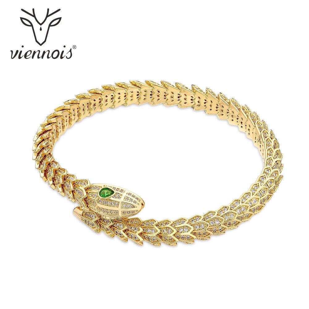 Viennois Bangles Snake-Bracelet Animal-Cuff Rhinestone Crystal Fashion Jewelry Gold Silver-Color