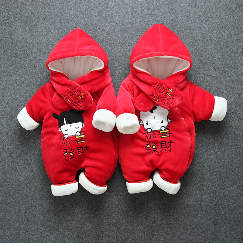 New Winter Super Warm Baby Clothes One-Pieces Cartoon Animal Jumpsuit Flannel Baby Boy Clothes Costume Baby Girl Rompers цена