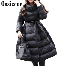 New 2017 Long Parkas Female Women Winter Coat Thickening Sashes Cotton Jacket Womens Outwear Parkas for Female Winter Outwear
