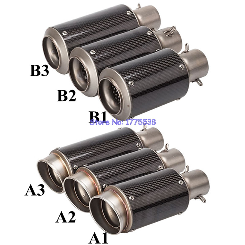 Universal ID:51mm Carbon Fiber Motorcycle Exhaust Muffler Pipe Modified Motorbike Muffler Exhaust Escape Damper with DB Killer