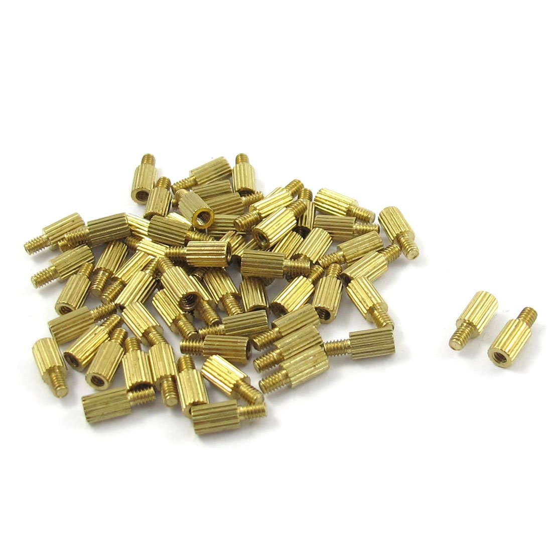 CSS 50 Pcs Male to Female Thread Brass Pillars Standoff Spacer M2x5mmx8mm m4 male m 25 30 35 40 45 50 55 60 mm x m4 6mm female brass standoff spacer copper hexagonal stud spacer hollow pillars