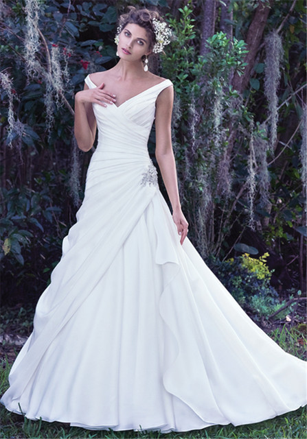 Portrait Neckline A Pleated Bodice Crystal Embellishment Wedding Dress V Neck Bridal Dresses