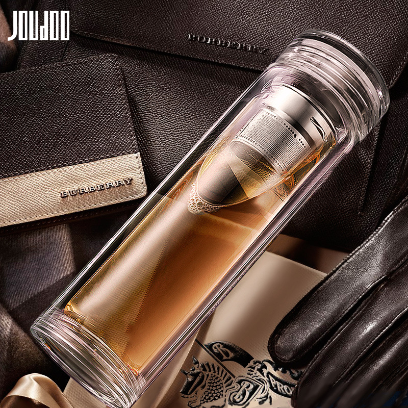 JOUDOO Business Office Glass Man's Tea Cup Brief Office Crystal Water Bottle With Infuser High Quality Double Layer Car Cup 35