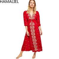 HAMALIEL Retro Boho Chic Long Beach Dress 2018 Summer Women Red Embroidery Floral Cotton Holiday Sexy Deep V Neck Maxi Dresses
