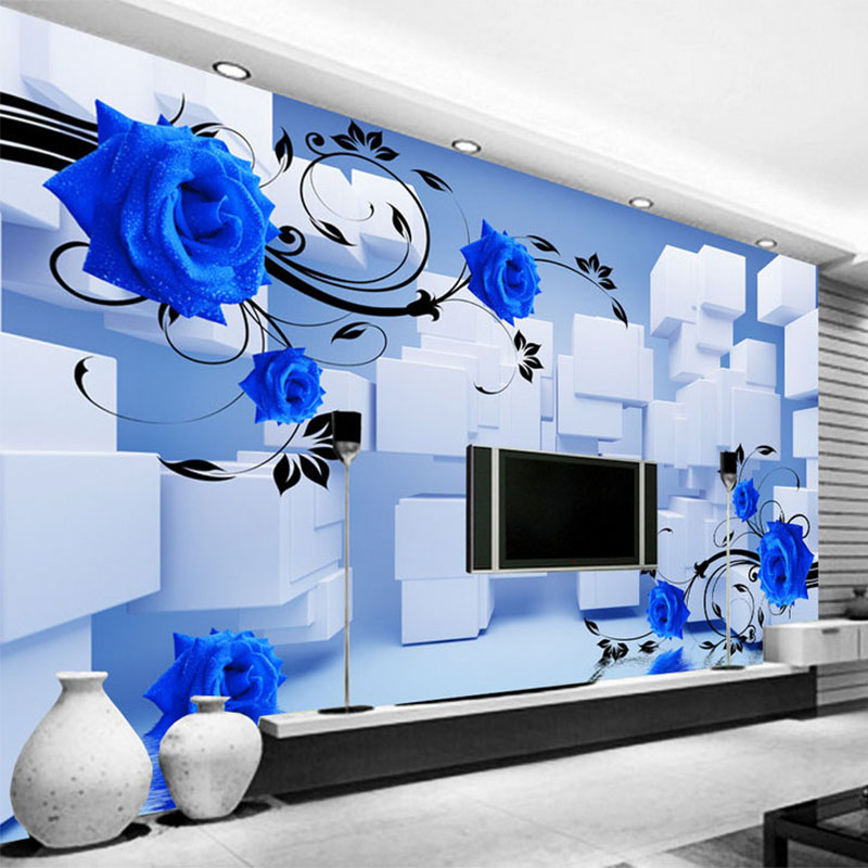 Personalized Customization 3D Stereo Relief Blue Flower Mural Geometric Square Spatial Expansion Photo Wallpaper Papel De Parede