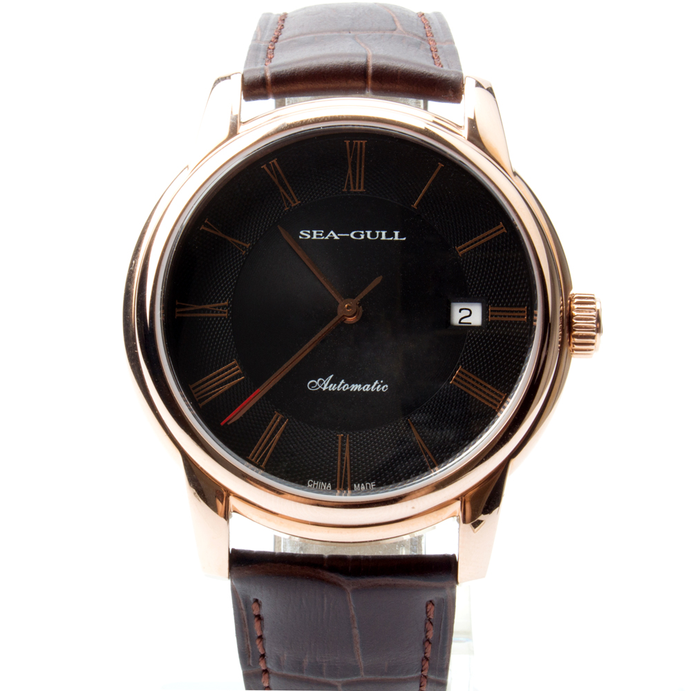 Seagull Genuine Leather Band Gold Tone Black Dial 3 Hands Guilloche Automatic Men's Watch Sea-gull D519.405