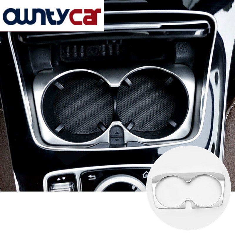 Matte Chrome ABS Inner Water Cup Holder Cover Trim For Mercedes Benz GLC C E Class W205 W213 2015-2017