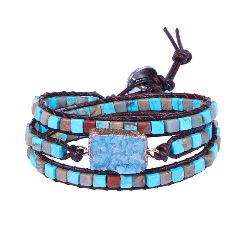 Exclusive New Women Bracelets Natural Stone Cubic Beads 3 Strands Leather Wrap Bracelet Femme Dropship