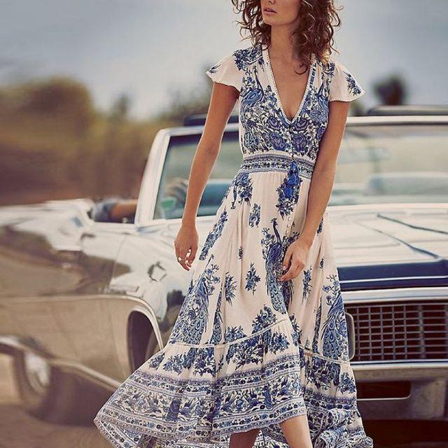 2018 Vintage Frauen Sommer Boho Lange Maxi Abend Party Kleid V-ausschnitt  Strand Kleider Sommerkleid 456af21b2d