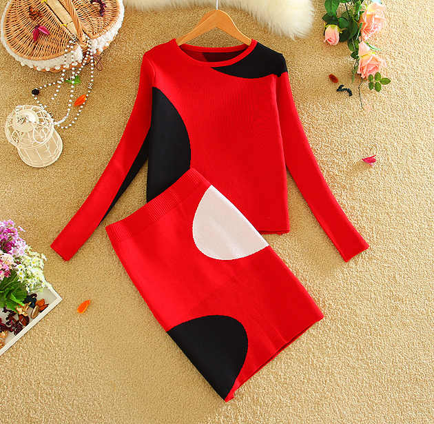 2019 Spring Fall New Women Knit Skirt Suits Geometric Pattern Women Sweater Top and One Step Knited Skirt Sets Red LY591
