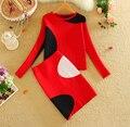 2016 Primavera Otoño Nuevas Mujeres Juegos de Falda de Punto Patrón Geométrico las mujeres Suéter Superior y Un Paso Knited Falda Establece Rojo LY591