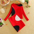 2016 Spring Fall New Women Knit Skirt Suits Geometric Pattern Women Sweater Top and One Step Knited Skirt Sets Red LY591