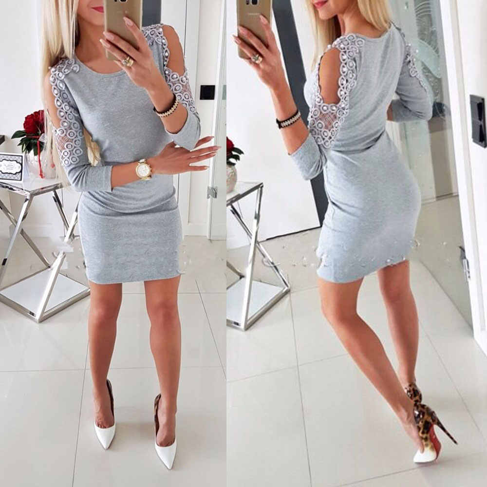 Sexy Dress Women Long Sleeve Off Shoulder Bodycon Dress Cold Shoulder Beading Ladies Top Dress Party Short Mini Dresses Vestidos
