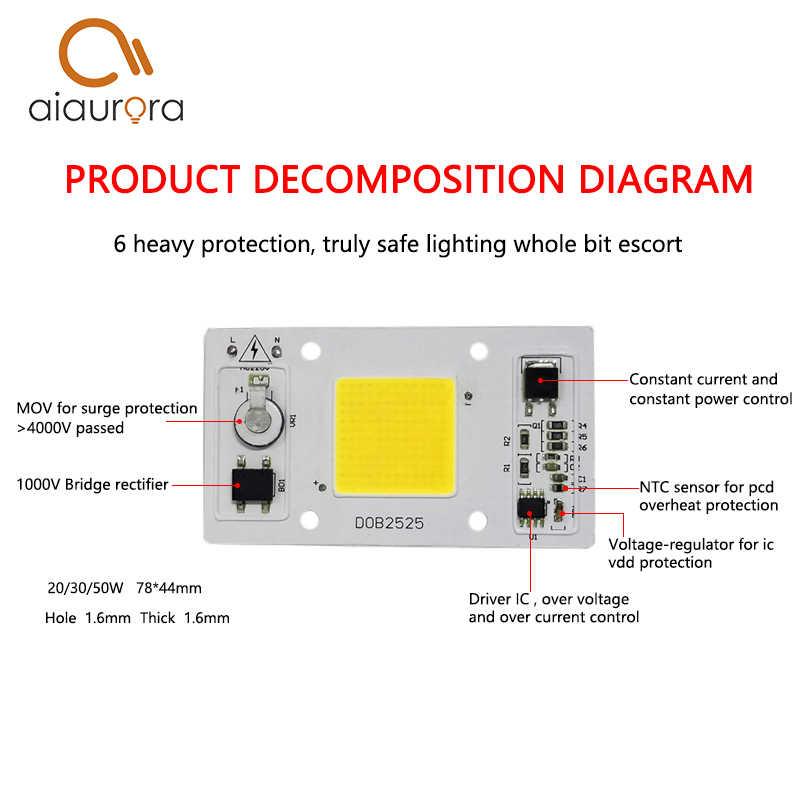 1PCS DOB LED COB Lamp Chip 20W 30W 50W AC 220V Input Smart IC Driver Fit For DIY LED Floodlight Spotlight LED Bulb Cold White