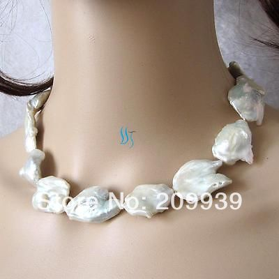 """Hot sell ->@@ AS3385 17.5"""" 25-32mm White Keshi Freshwater Pearl Necklace -Top quality free shipping"""