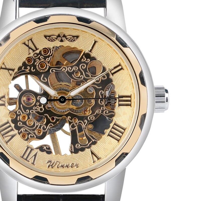 font b Winner b font Fashion Gold Black Roman Number Dial Luxury Design Clock Mens