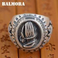BALMORA Solid 990 Pure Silver Palm Peace Dove Vintage Rings For Women Men Gift Ring Thai