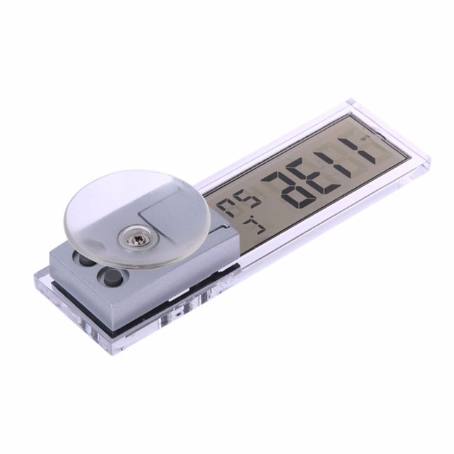 2 in 1 Automobile Car Clock Thermometer Sucker Type Clock Thermometer Transparent LCD Digital Watch 10 button Cell Battery Opera