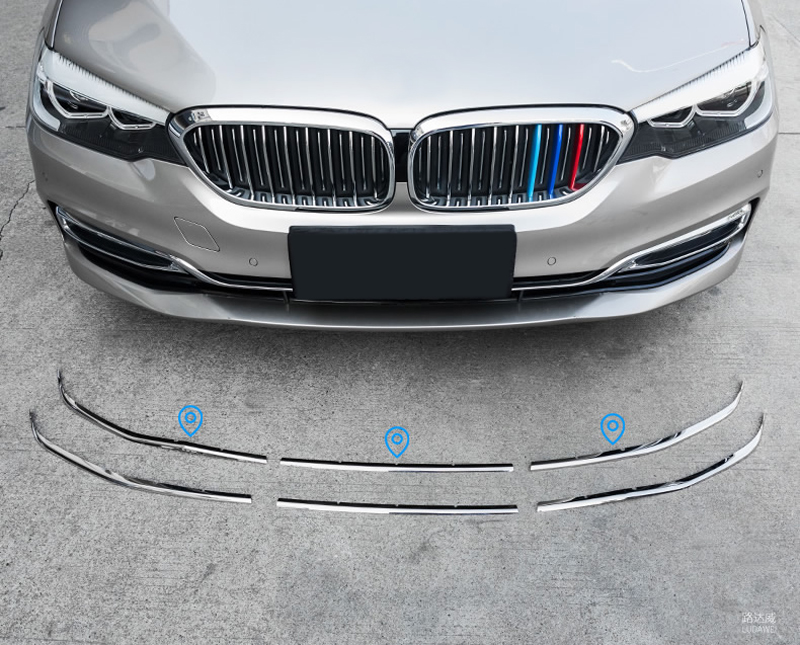 For BMW 5 Series G30 2017 2018 Exterior Car-styling Car Styling Front Grille Grill Cover Molding Decoration Cover 6pcs