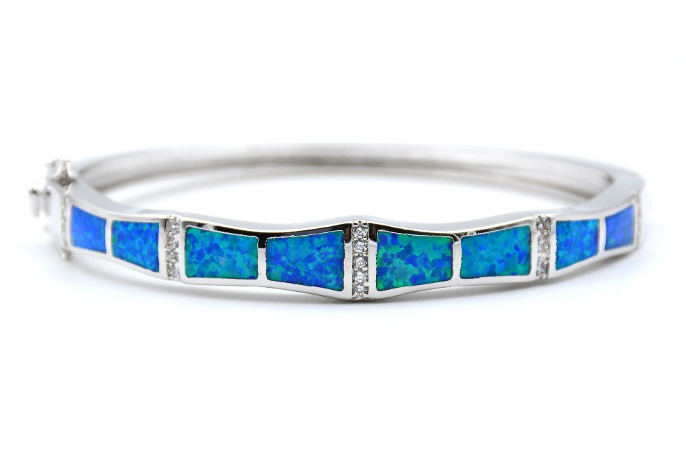 Ocean Blue Fire Opal Bangle Bracelet With Rhodium Plating In Bangles From Jewelry Accessories On Aliexpress Alibaba Group