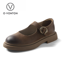 Q.VONTON women's genuine Leather low heels shoes slip-on female  cow Leather casual round toe buckle strap vintage pattern