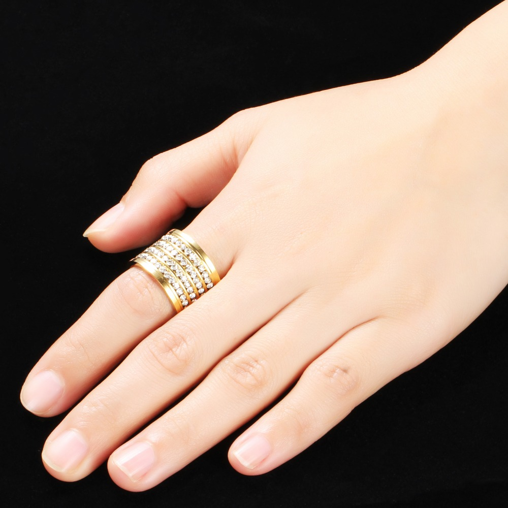 Fashion shining full 4 Row Crystal rhinestone Jewelry Ring Gold Stainless Steel Couple Wedding rings for men and Women 2