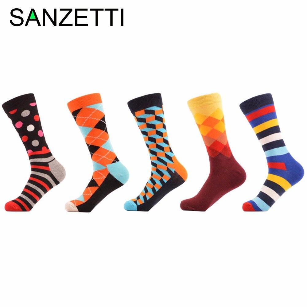 SANZETTI 5 pair/lot Mens Colorful Funny Happy Socks Fine Paragraph Stripe Diamond Checkerboard Combed Cotton Casual Crew Socks