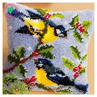 Bird Picture Needlework Pillowcase Latch Hook Rug Kits Back Cushion Diy Carpet Embroidery Cross Stitch Thread
