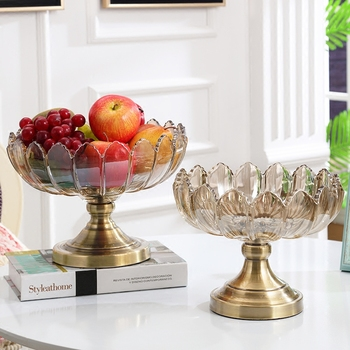 European luxury Crystal glass VaseAmerican creativeFruit tray home Decoration Crafts Wedding Gifts tabletop Furnishing Figurines