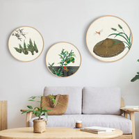 30cm Canvas Wall Art Wall Paintings Stretched Wood Round Frame Picture Frame