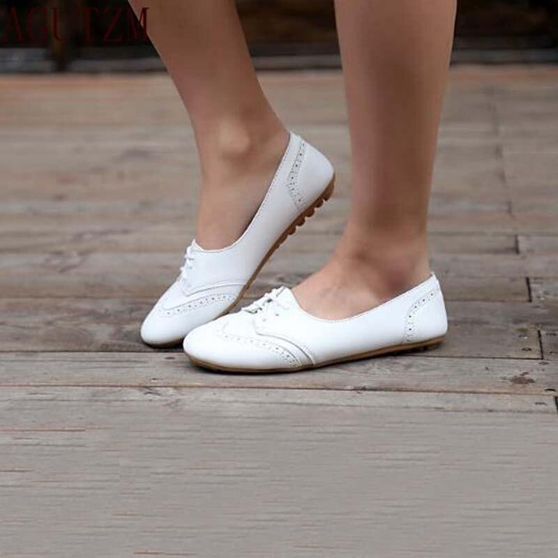 cda879c88e1f AGUTZM Wiosna kobiety oxford buty baleriny mieszkania buty kobiety  prawdziwej skóry buty mokasyny zasznurować próżniacy białe