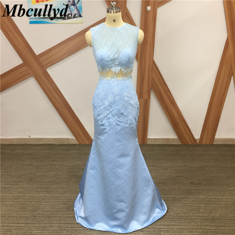 Mbcullyd Blue Bridesmaid Dresses Long Two Pieces Applique Lace Cheap Floor Length Wedding Bridesmaid Gown Formal Robe De Soiree