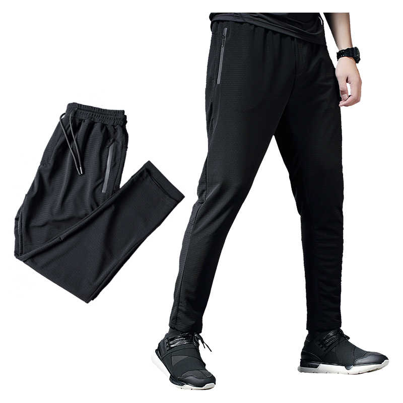 2019 アイスシルク速乾男性スポーツフィットネスパンツジョギングランニングスウェットパンツタイトジムトレーニングトレーニング演習サッカーズボン