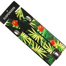 New 3.5cm Wide  Fashion Tropical Plant  Flower Pattern Mix Suspenders Unisex Clip-on Braces Y-Back Elastic Suspender стоимость