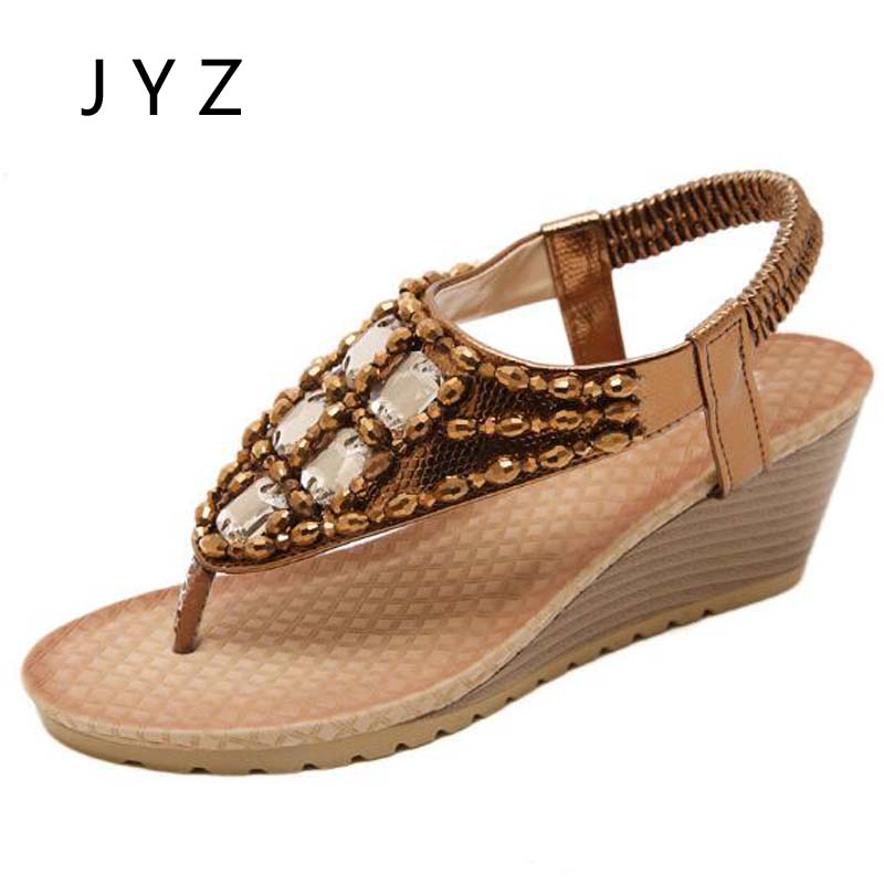 2018 New Fashion Womens Sandals Beach Shoes Wedges Shoes Summer Shoe Lady Size 40 41 42 aa0358 in High Heels from Shoes