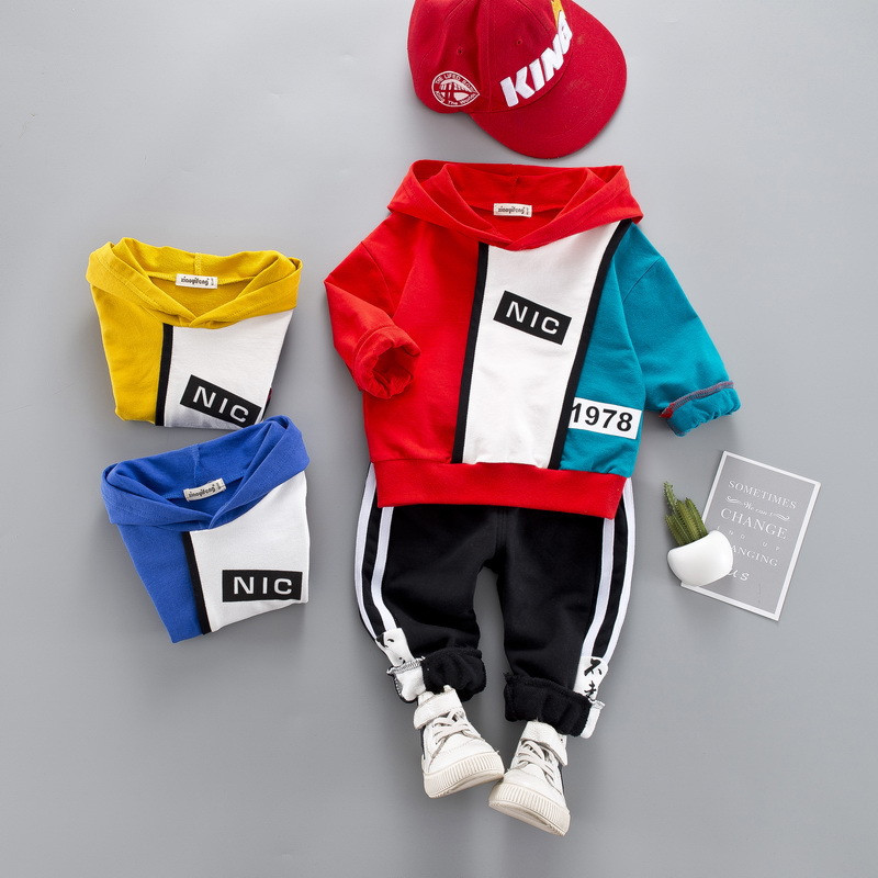 0-4 year High quality boy girl clothing set 19 new fashion active patchwor kid suit children baby clothing Hoodies+pant 2