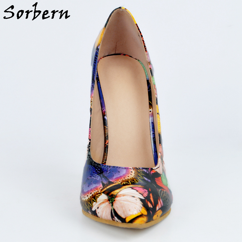 68c1f606b1 Sorbern Pointed Toe Butterfly Print Women Pump High Heels Size 4 High Heels  Shoes Woman Diy Red Bottom Plus Size Christmas Gift-in Women's Pumps from  Shoes ...