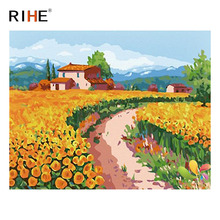 RIHE Golden Flower Land Diy Painting By Numbers Abstract Village Oil On Canvas Cuadros Decoracion Acrylic Wall Picture