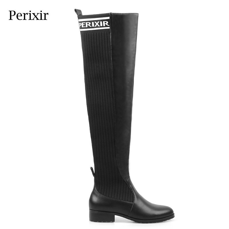 Perixir Winter Black Knee-High Cotton Fabric Boots 6 CM Heel Boots Print Letter Mixed PU Pointed Toe Square Heel mixed print square coaster