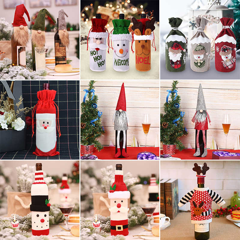 42 Types Christmas Wine Bottle Set Santa Claus Snowman Deer Bottle Cover Clothes Kitchen Decor for New Year Xmas Dinner Party