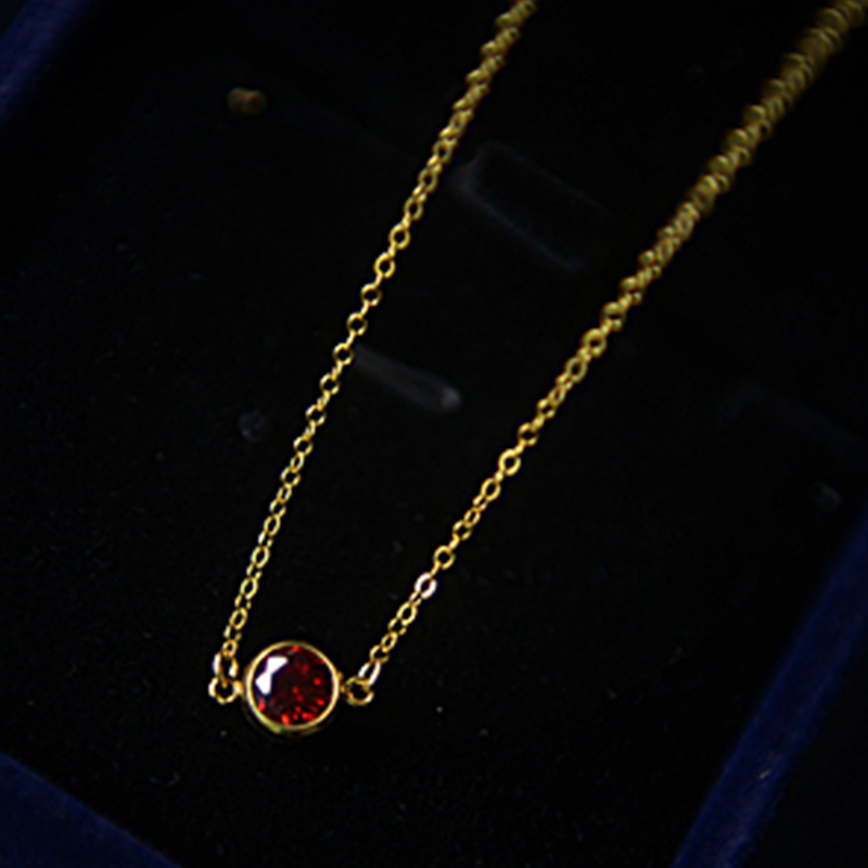 New Fashion Women Necklace 14k Gold Red Garnet Necklace Roman Long Necklace Jewelry Lady Wedding Engagement