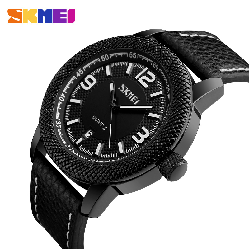 SKMEI Fashion Men Leather Quartz Watches Luxury Brand Sport Watch Calendar Waterproof Business Wristwatches Relogio Masculino