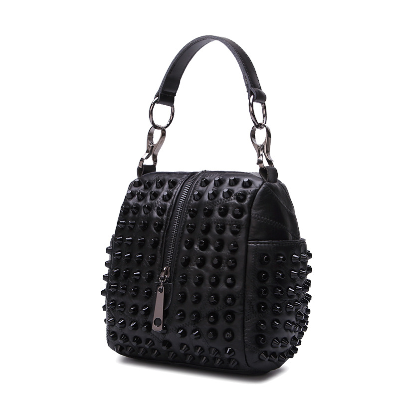 ФОТО Unique Brand Designer Natural Sheepskin women leather handbags Patchwork shoulder bag Rivet bag Fashion crossbody bags for women