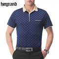 HEE GRAND  2017 POLO Shirt Men Cotton Blend Fashion Print Dots Print Polo Summer Short-sleeve Casual Shirts MTP375