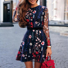 Women Fashion Summer Dresses Floral Embroidered Party Dress Lace Mesh Double Layer Mini Dress Sexy Elegant Sundress #E