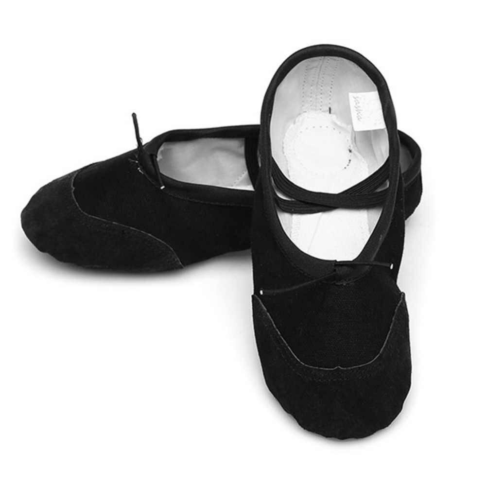 Soft Sole เด็กเด็กบัลเล่ต์รองเท้าเด็กผู้หญิงการฝึกอบรมเต้นรำบัลเล่ต์เต้นรำรองเท้าเด็กผู้ใหญ่สุภาพสตรีสีดำสีขาว 17 ซม.