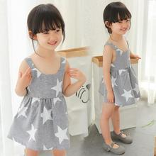 2017 Summer Kids Girls Striped Star Printing Dresses 2-6 Year Children Baby Princess Backless Dress Infant Costume