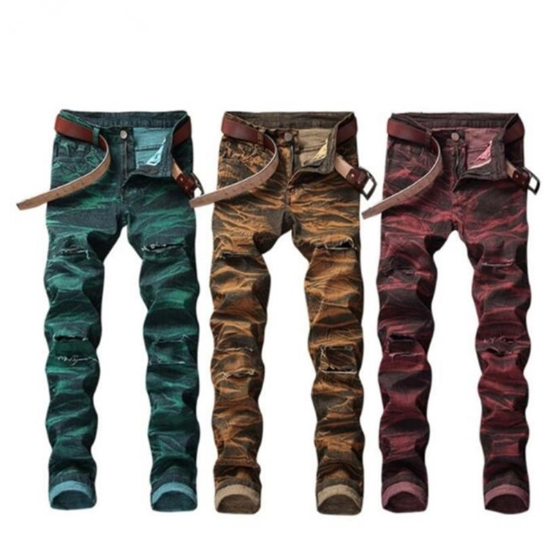 Male Summer European and American style jeans Male New ripped jeans for men Color printing design creative personality Pants