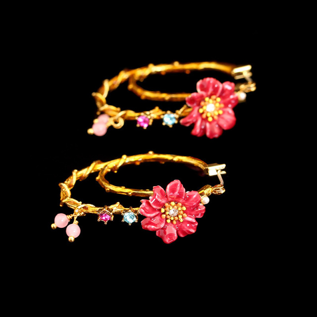 JUICY GRAPE New Pattern Enamel Glaze Crystal Flower Gold Plated Earrings Jewelry 925 Silver Needles Fashion Women Best Gift